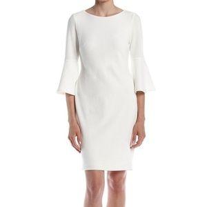 Calvin Klein White Bell Sleeve Sheath Dress